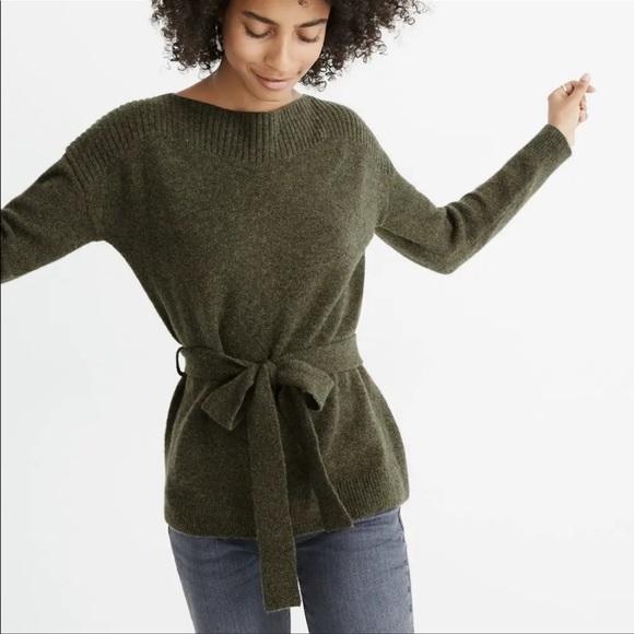 Madewell boatneck green sweater
